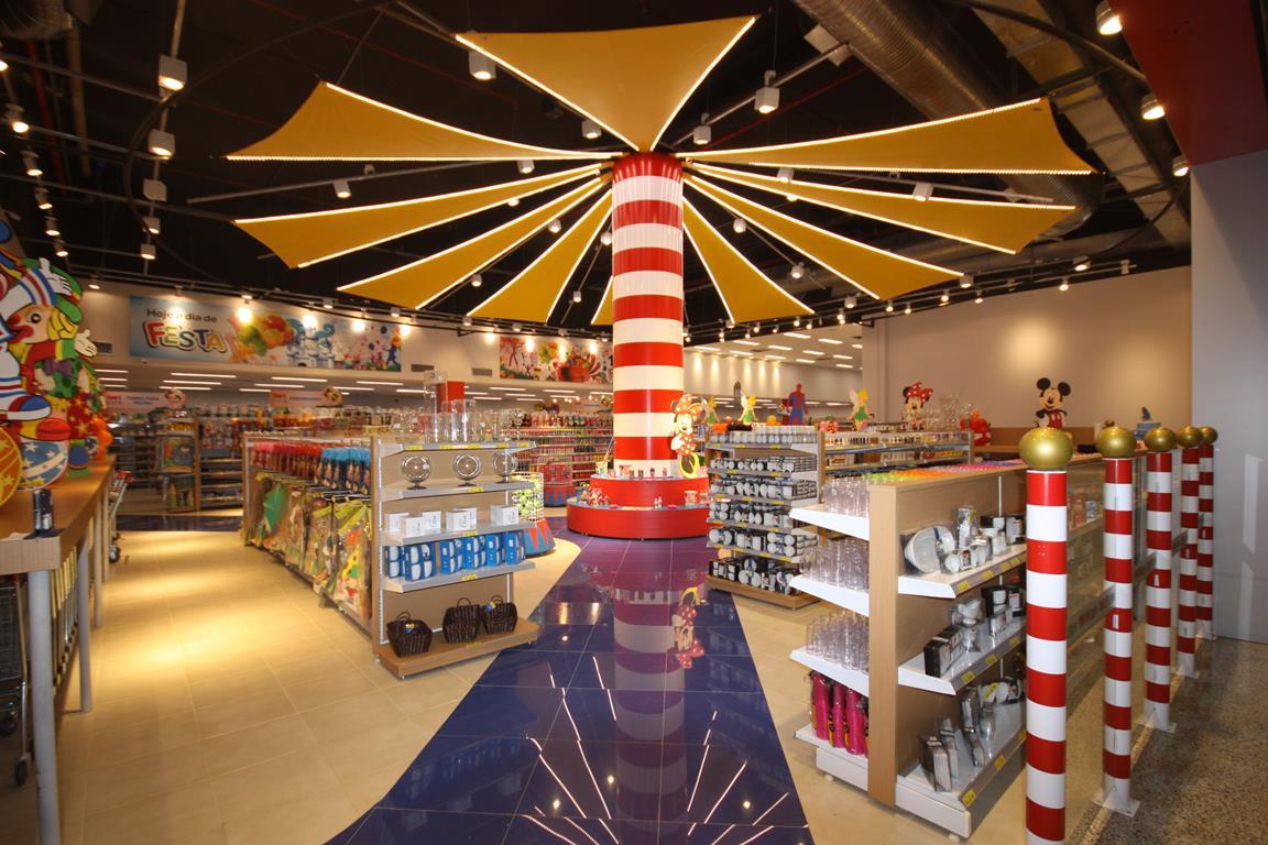 gondolas hibrida aço mdf loja 1001 festas